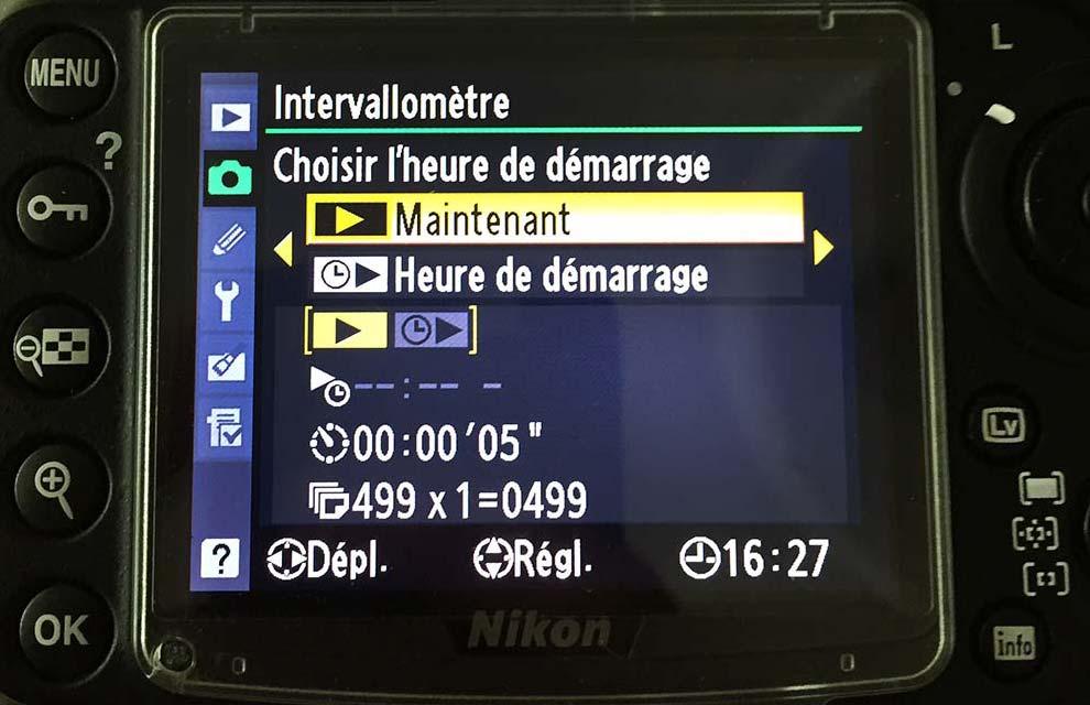 Voici l'intervallomètre installé sur mon Nikon 300DS. On peut y sélectionner l'intervalle entre 2 clichés, le nombres d'images au total, la durée et même l'heure de démarrage.