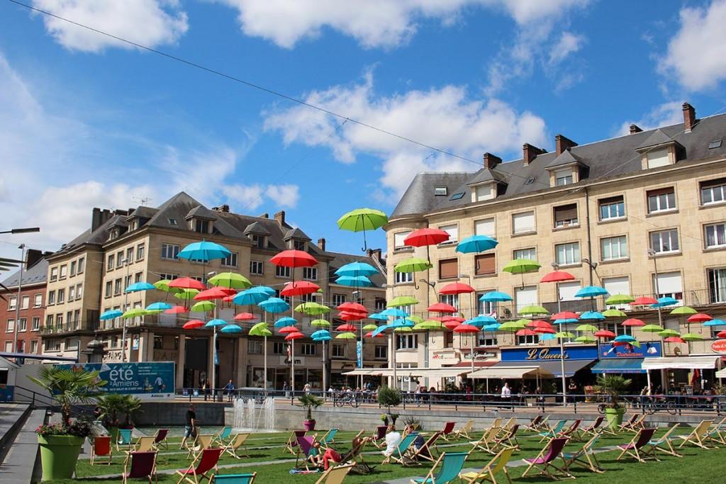 Amiens plage, centre ville en été