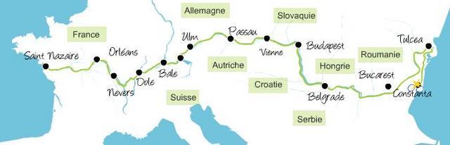 """Tracé """"officiel"""" de l'Eurovélo 6 réalisé par l'excellent site La Loire à vélo"""