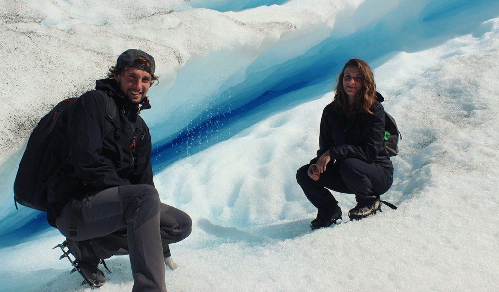 Sur le glacier en Amérique du Sud