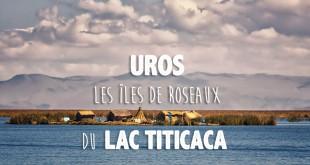 vue sur le lac titicaca avec en arrière plan un village flottant construit à base de roseaux et sur lequel vivent les tribus uros